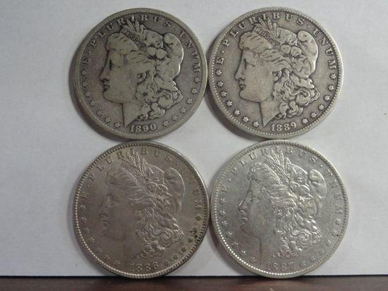 (4) VF-AU MORGAN SILVER DOLLARS, 1886, 1887-O, 1889-O, 1890