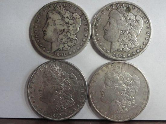 (4) VF-AU MORGAN SILVER DOLLARS, 1889, 1890, 1891, 1892