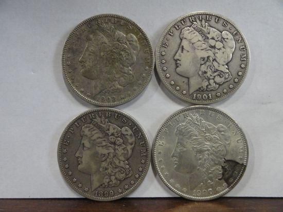 (4) F-VF MORGAN SILVER DOLLARS, 1899-O, 1900, 1901-O, 1902-O