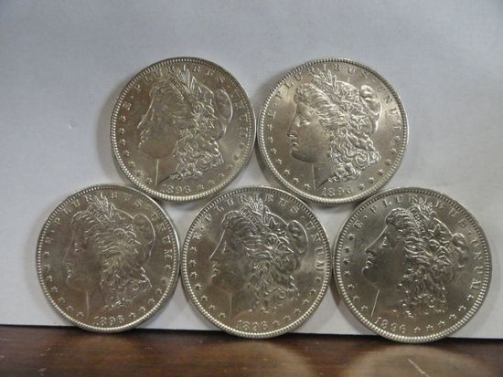 (5) UNCIRCULATED 1896 MORGAN SILVER DOLLARS