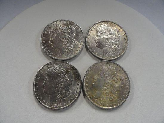 (4) AU-BU MORGAN SILVER DOLLARS: 1886, 1887, 1888, 1889