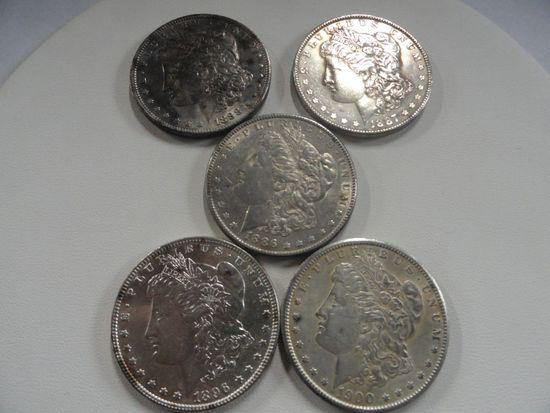 (5) AU-BU  MORGAN SILVER DOLLARS:1886, 1887, 1888, 1896 & 1900
