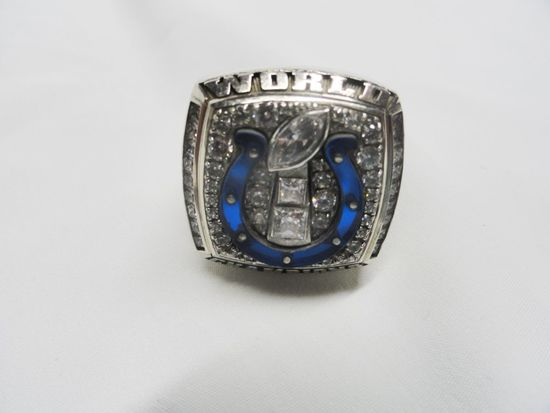 HERFF JONES (SAMPLE) 10KT  WHITE GOLD COLTS WORLD CHAMPIONS RING MANNING (64.9 GRAMS)