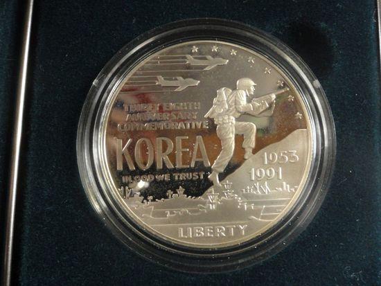 1991 U.S. MINT KOREAN WAR MEMORIAL COIN PROOF SILVER DOLLAR
