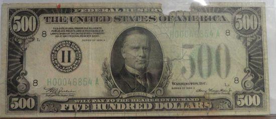 $500 FIVE HUNDRED DOLLAR BILL 1934A