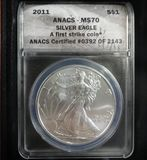 2011 ANACS MS70 SILVER EAGLE IN WOODEN DISPLAY BOX