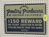 PORCELAIN SIGN: MEMBER POULTRY PRODUCERS OF CENTRAL CALIFORNIA-14X20