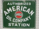 PORCELAIN SIGN AUTHORIZED AMERICAN OIL COMPANY STATION-17X20