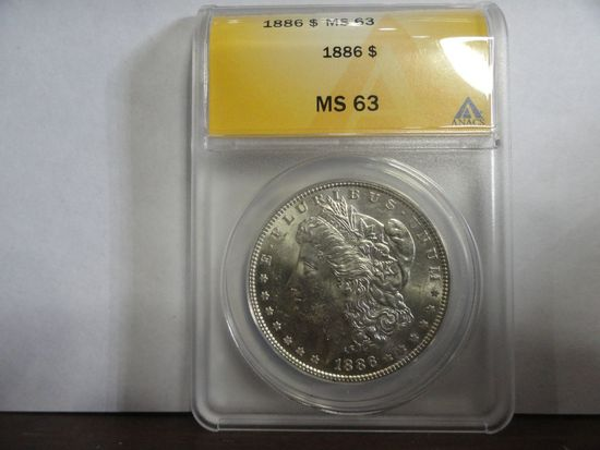 ANACS GRADED MS63 1886 MORGAN SILVER DOLLAR