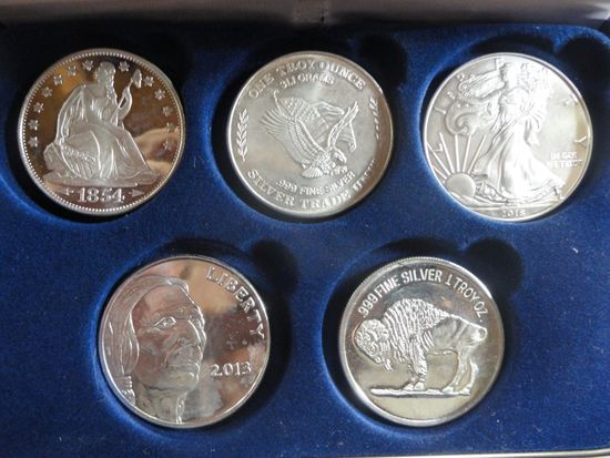 (5) ONE TROY OZ SILVER COINS & ROUNDS: