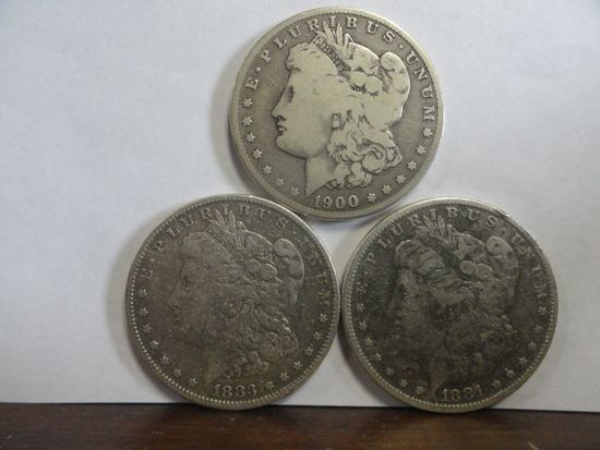(3) CIRCULATED MORGAN SILVER DOLLARS, 1881, 1883, 1900-O