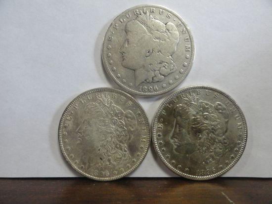 3 MORGAN SILVER DOLLARS: (1) 1896-O AG CONDITION, (2) 1896 BU CONDITION