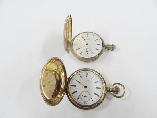 2 GOLD FILLED HUNTER CASE POCKET WATCHES: