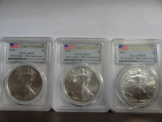 (3) 2016 PCGS GRADED MS70 FIRST STRIKE 30TH ANNIVERSARY SILVER AMERICAN EAGLE COINS