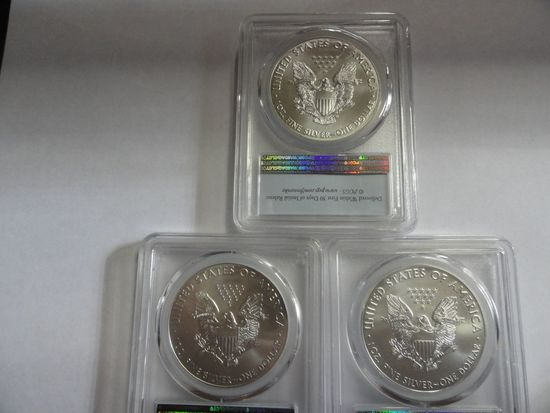(3) 2006 ICG PROOF 69 20TH ANNIVERSARY SILVER AMERICAN EAGLE COINS
