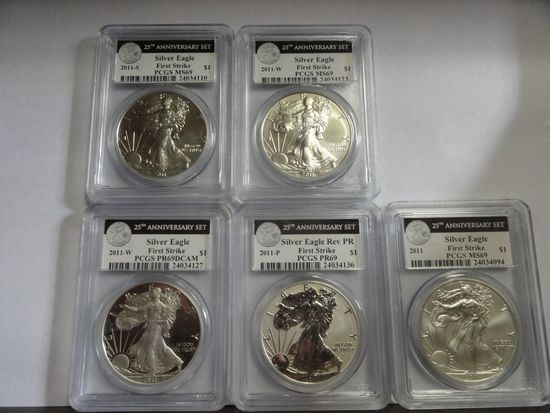 (5) 2011 PCGS FIRST STRIKE 25TH ANNIVERSARY SILVER AMERICAN EAGLE COIN SET