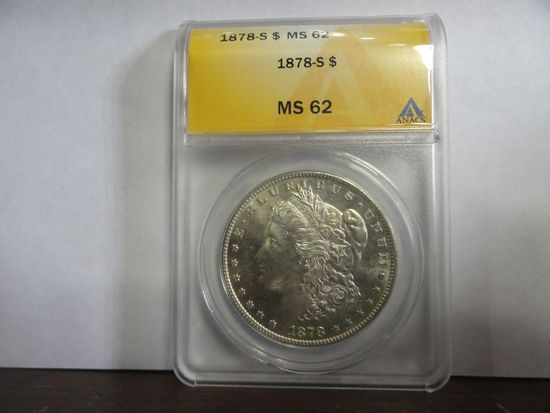 ANACS GRADED MS62 1878-S MORGAN SILVER DOLLAR