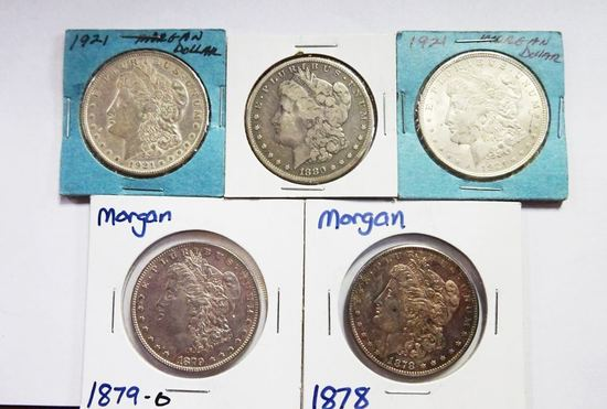 (5) MORGAN SILVER DOLLARS: 1878, 1879-O, 1880-O, (2) 1921