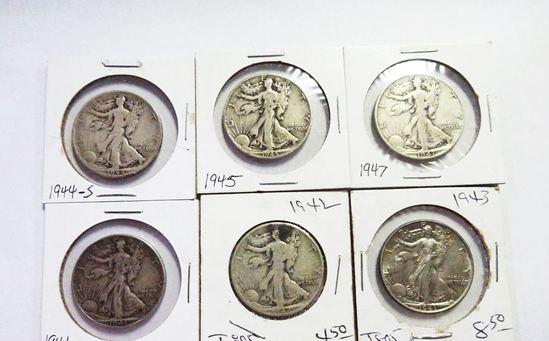 (6) WALKING LIBERTY HALF DOLLARS: 1941-D, 1942, 1943, 1944-S, 1945, 1947-D