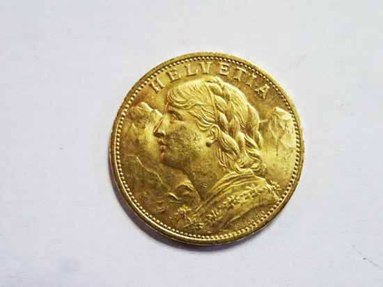 SWISS GOLD 20 FRANCS HELVITIA 1914 GOLD COIN