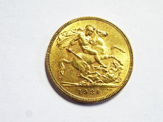 1931 BRITISH GOLD SOVEREIGN COIN, .23 TROY OZ.