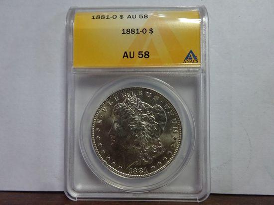 ANACS GRADED AU58 1881-O MORGAN SILVER DOLLAR