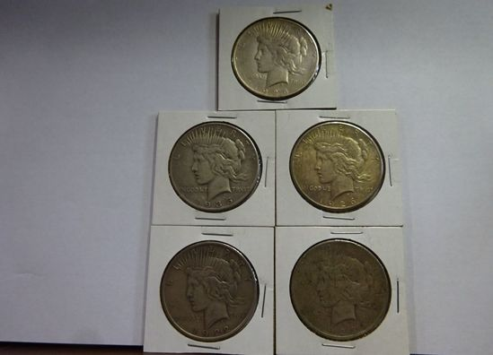 (5) PEACE SILVER DOLLARS: 1922-D, 1923, 1926-S, 1928-S, 1935-S
