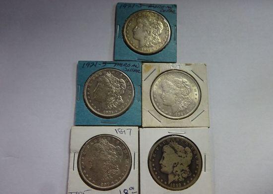 (5) MORGAN SILVER DOLLARS: 1897, 1898-S, 1921, (2) 1921-S