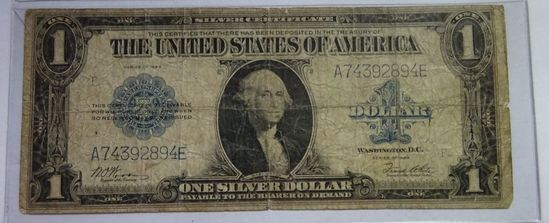SERIES OF 1923 LARGE SIZE SILVER CERTIFICATE NOTE, WOODS/WHITE SIGNATURES
