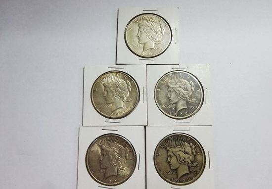 (5) PEACE SILVER DOLLARS: 1922, (2) 1922-D, 1923-D, 1926-S