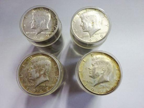 (4) 20-COIN ROLLS 40% SILVER KENNEDY HALF DOLLARS