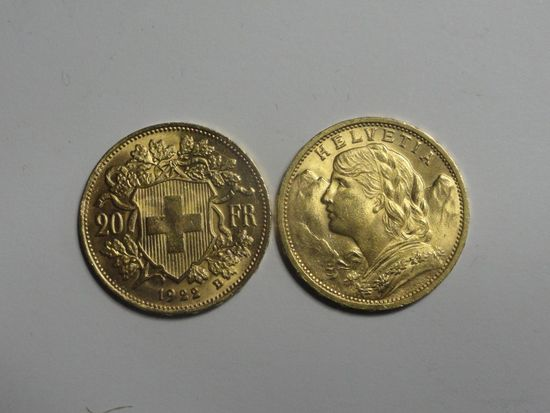 (2) SWISS 20 FRANC HELVETIA GOLD COINS, 90% GOLD,