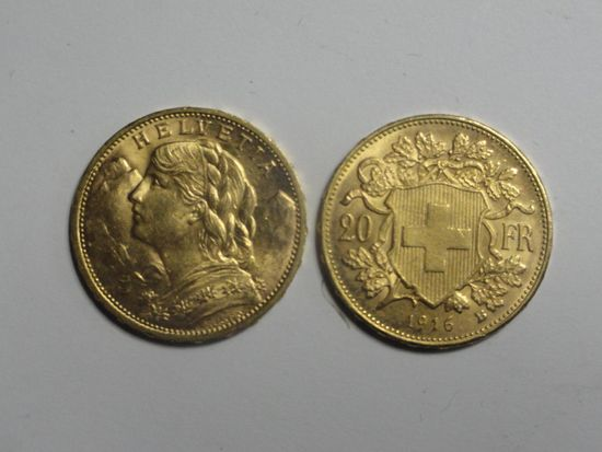 (2) SWISS 20 FRANC HELVETIA GOLD COINS, 90% GOLD