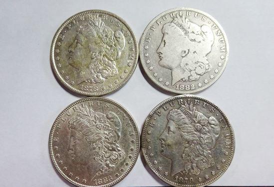(4) MORGAN SILVER DOLLARS: 1878, 1879-O, 1882, 1883
