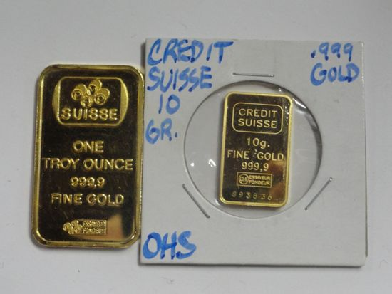 (2) CREDIT SUISSE .999 GOLD INGOTS, ONE TROY OUNCE, 10 GRAM