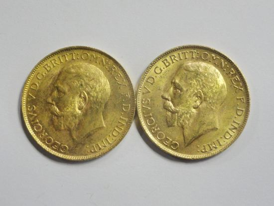 (2) 1927 GEORGE V SOUTH AFRICA MINT SOVEREIGN GOLD COINS