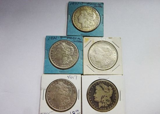 5) MORGAN SILVER DOLLARS: 1897, 1898-S, 1921, (2) 1921-S
