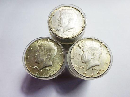 (3) 20-COIN ROLLS 40% SILVER KENNEDY HALF DOLLARS
