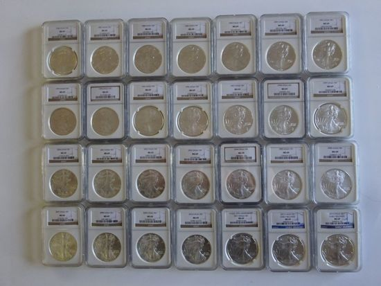 NGC GRADED MS69 SET OF SILVER AMERICAN EAGLE COINS, 1986-2013, (28) COINS TOTAL