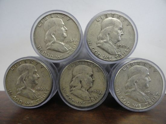 (5) ROLLS OF 20 MIXED DATE, CIRCULATED 90% SILVER FRANKLIN HALF DOLLARS
