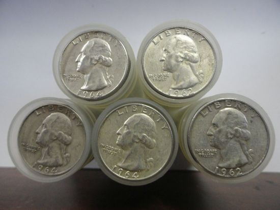 (5) ROLLS OF 40 MIXED DATE, CIRCULATED 90% SILVER WASHINGTON QUARTERS