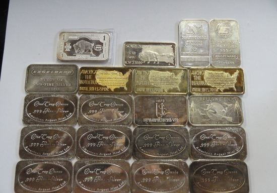 (20) ASSORTED ONE TROY OZ, .999 FINE SILVER INGOTS