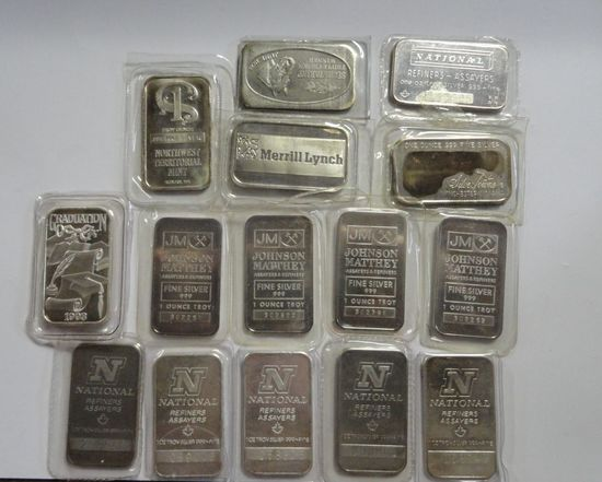 (15) ASSORTED ONE TROY OZ, .999 FINE SILVER INGOTS