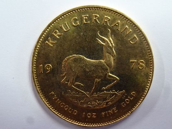 1978 SOUTH AFRICA KRUGERAND, 1 OZ, FINE GOLD COIN