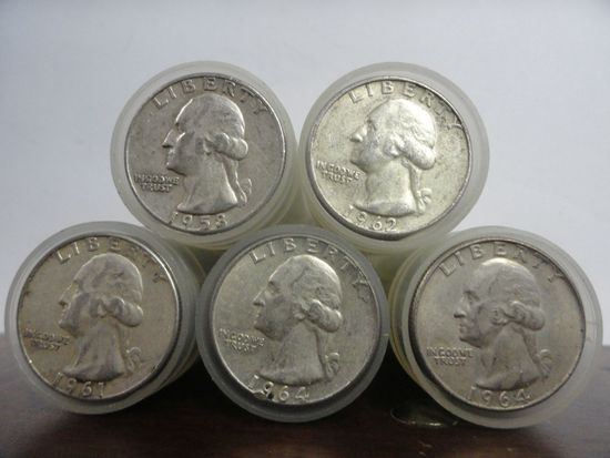 (5) ROLLS OF (40) PRE-1965 SILVER WASHINGTON QUARTERS