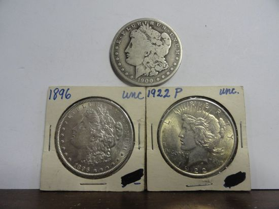 (2) MORGAN AND (1) PEACE DOLLARS: