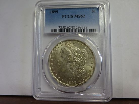 PCGS GRADED MS62 1899 MORGAN SILVER DOLLAR