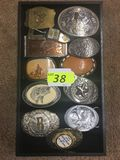 TRAY OF 12 BELT BUCKLES