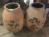 PAIR OF JAPANESE STORAGE JARS SHIRAGAKI WARE, BALUSTER FORM TAPERED TO FOOT, ROLLED LIP, DECORATED W
