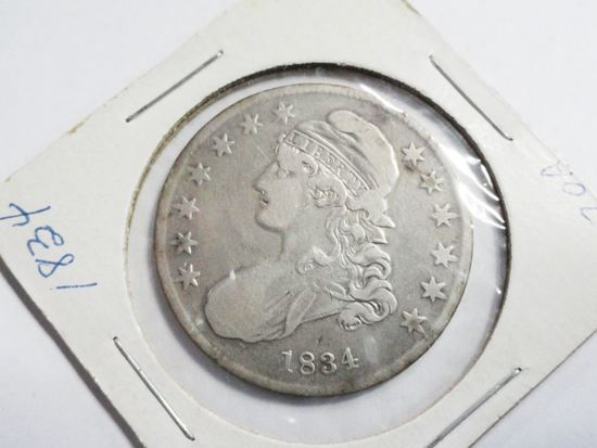 1834 CAPPED BUST HALF DOLLAR, VF CONDITION